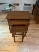 Brown Wood Mission Style Nesting Side End Table Set Of 3 Tables Craftsman