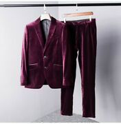 Mens Trousers Formal Business Casual Slim Fit Pants Velvet Spring High End Chic