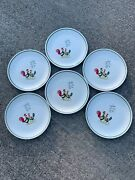"""Antique Steubenville Rooster Chicken Chick Family Set Of 6 Dinner Plates 10""""❤️j8"""