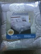 Cracker Barrel Embroidered Ashley King Quilt 100 Cotton 110 X 95 - Brand New