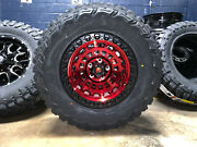 17x9 Fuel D632 Zephyr Red Wheels Rims 33 Mt Tires 6x135 Ford F150 Expedition