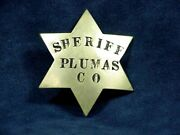 Vintage Obsolete Plumas County Sheriffand039s Badge - Circa 1910-1920and039s