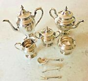 Sterling Silver 5 Piece Set Puritan By Gorham With Silverplate Tray