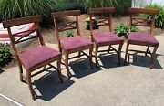 Set Of 4 Antique Mahogany Tell City Kitchen Chairs Andndash Free Local Pickup