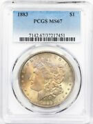 1883 Pcgs Ms-67 Morgan Silver Dollar Mint State 67 Great Look Tough This Nice