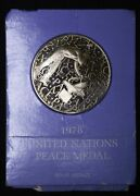1978 United Nations Peace Medal Solid Bronze In Original Packaging