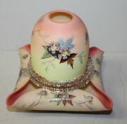 Antique Acid Burmese Art Glass Prunus Floral Decorated Fairy Lamp With Candle