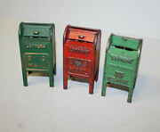 Three Hubley Cast Iron Antique Us Mail Postal Box Toy Coin Banks
