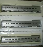 Ho Walthers Santa Fe 3-car Train Set Rrsf1225 Sf Coaches And Diner W/interiors