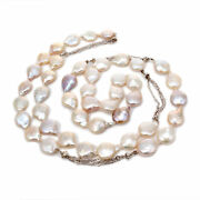 Freshwater Coin Pearl 36 Inch Necklace 18k White Gold Chain And Diamonds