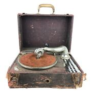 Antique Allen Hand Crank Wind-up Portable Record Player Early 1900s