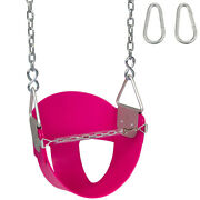 Swing Set Stuff Highback 1/2 Bucket Seat Pink With Chains And Hooks Wooden 0046