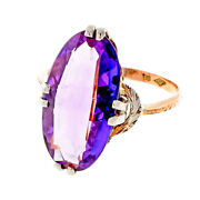 Vintage Retro 1940andrsquos Pink White Gold 4.50ct Amethyst Ring
