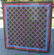 Postage Stamp Or Irish Chain Antique Quilt – Green And Blue - Circa 1890's