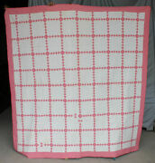 Antique Irish Chain Quilt Pink And White Pieced Small Squares