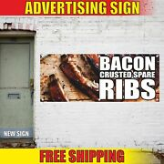 Bacon Crusted Spare Ribs Advertising Banner Vinyl Mesh Decal Sign Bbq Grill Meat
