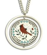 Women's Zuni Pendant Spinner .925 Silver Inlaid Signed S And E Guardian Necklace