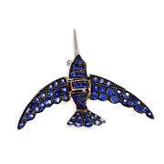 Swallow Pavandeacute Sapphire Clip Pin In 18k White Gold