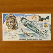 Joe Foss Signed Hand Painted 50 First Day Cachet First Afi Football Comissioner