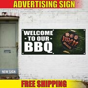 Welcome To Our Bbq Advertising Banner Vinyl Mesh Decal Sign Grill Party Barbecue