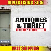 Antiques And Thrift Buy Sell Trade Advertising Banner Vinyl Mesh Decal Sign Flea
