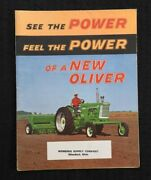 1958 The Oliver 550 770 880 Tractor Catalog Fold-out Poster Brochure Minty