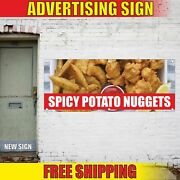Spicy Potato Nuggets Advertising Banner Vinyl Mesh Decal Sign Vegan Fried Hot 24