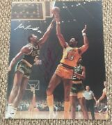 Wilt Chamberlain-bill Russell Dual Signed 16x20 Color Photo Psa/dna Full Letter