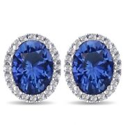 5.70 Ct Oval Blue Sapphire And Halo Diamond Stud Earrings 14k White Gold