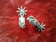 Western Cowgirl Fashion Jewelry Silver Spur Earrings Rowels Southwest Horses