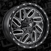 One 22x9.5 Fuel D581 Triton 8x180 Et20 Black And Milled Wheel