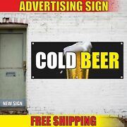 Cold Beer Advertising Banner Vinyl Mesh Decal Sign Bar Ice Floats Festival Root
