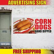 Corn Dogs Hand Dipped Advertising Banner Vinyl Mesh Decal Sign Stick Sauce Bbq