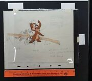 Cute Vintage Disney Chip Original Production Cel Drawing Paint Codes Tree Angry