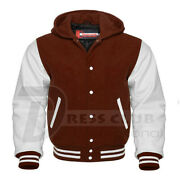 American Varsity Letterman College Bomber Hoodies Brown Body White Leather Arms