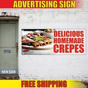 Delicious Homemade Crepes Advertising Banner Vinyl Mesh Decal Sign Pancake Pie
