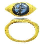 Ancient Roman Gold Intaglio Ring Nicolo Gem Of Ceres C. 2nd - 3rd Century A.d.
