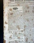 War Of 1812 United States President James Madison Proclamation In Old Newspaper
