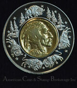 2003 - 2006 Lewis And Clark Bicentennial Medal W/ Gold Plated Buffalo Nickel 1936
