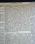 California Governing For Statehood And Hawaii Relations 1849 Wash. D.c. Newspaper