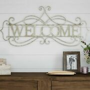 Welcome Sign Metal Cutout 3d Look Wall Hanging Decor 32 Inch Long
