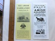 Two Early 60and039s Fold-out Maps/brochures Of Pennsylvania Dutch Country.
