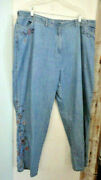 J Jill Denim Womans 26w Jeans Out Of The Blue Embroidered Flowers Pure Cotton