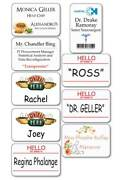 9 Pc. Friends Tv Show Name Badges Tags Props Halloween Costume Cosplay Pin Backs