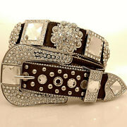 Xs S M L Xl Brown Sq Crystal And Flower Concho Buckle Belt Western Cowboy Girl