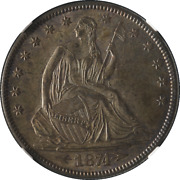 1874-p Seated Half Dollar Arrows Ngc Ms64 Cac Sticker Great Eye Appeal