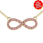 Pink Round Pink Tourmaline Infinity Pendant W/18 Chain 14k Solid Yellow Gold
