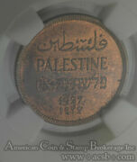 Palestine 1 Mil 1927 Ms63 Rb Ngc Bronze Km1 Red Brown Gem Mostly Red