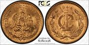 Mexico 1 Centavo 1944 Ms64 Rd Pcgs Km415 Pop 1/3 Finer Red Late Key Wwii