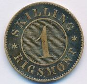 1860 Denmark 1 Skilling State Mint Bronze Coin Rare Type Good Condition